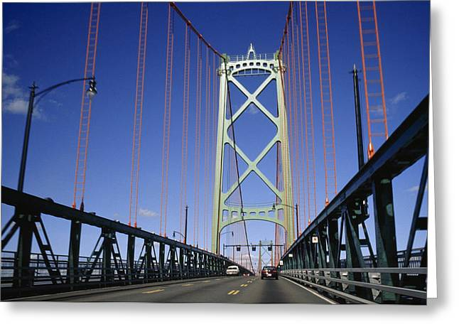 Vehicle Of Life Greeting Cards - Cars On The Angus L. Macdonald Bridge Greeting Card by Justin Guariglia