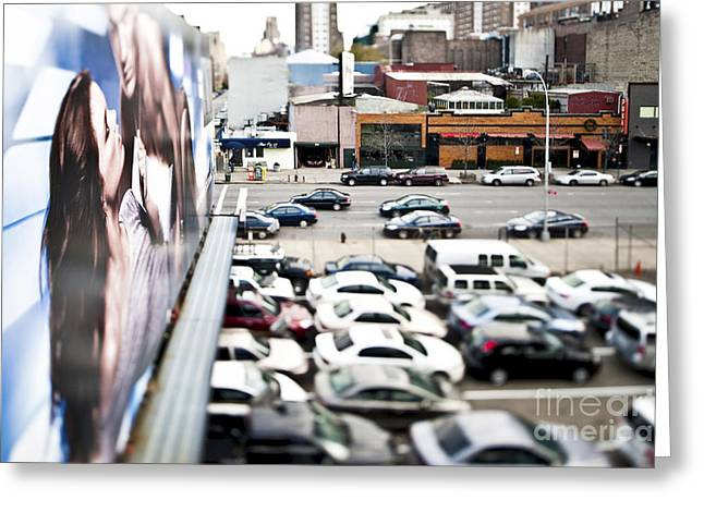Advertise Greeting Cards - Cars Parked in a Parking Lot Greeting Card by Eddy Joaquim