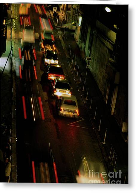 World Problems Greeting Cards - Cars travelling along a street during a rainy night Greeting Card by Sami Sarkis