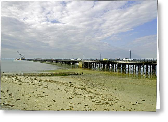 Europe Greeting Cards - Cars Travelling on Ryde Pier Greeting Card by Rod Johnson