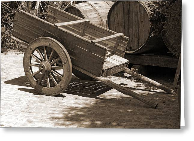 Wine Scene Greeting Cards - Cart and Wine Barrels in Italy Greeting Card by Greg Matchick