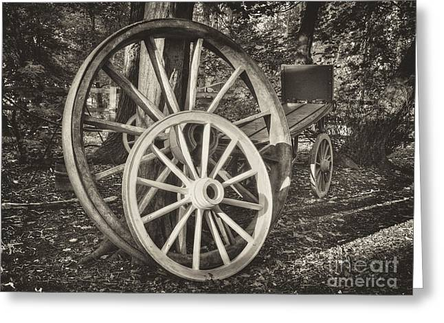 Www.picsl8.co.uk Greeting Cards - Cart wheels mono Greeting Card by Steev Stamford