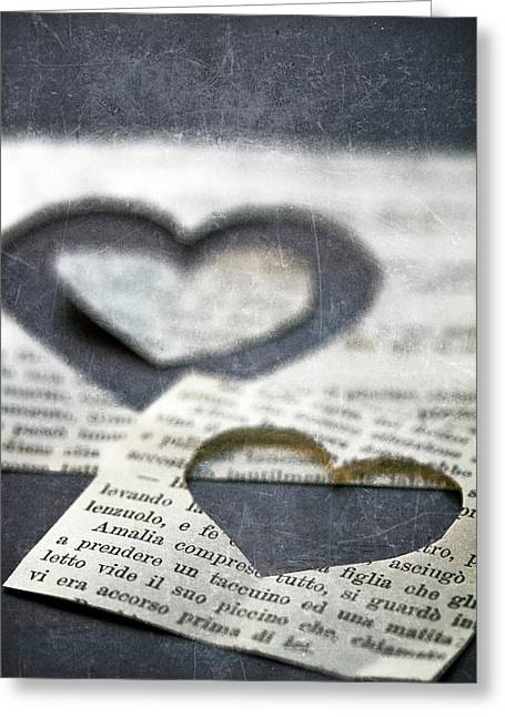 Paper Photographs Greeting Cards - Carta Cuori Greeting Card by Rebecca Cozart