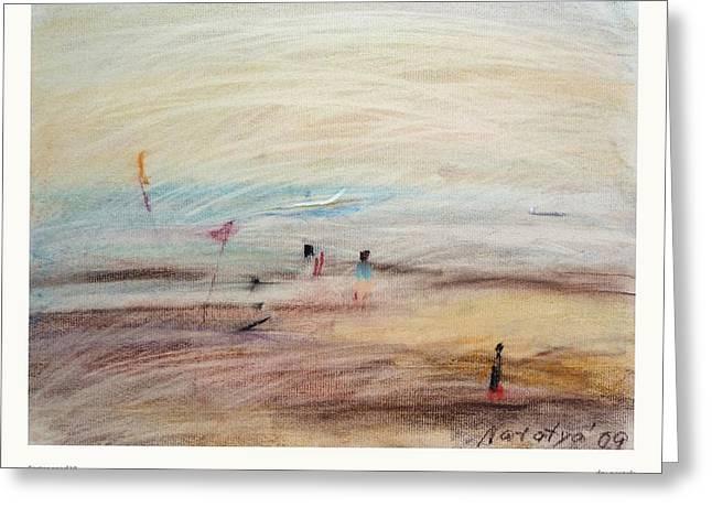 Fishermen Pastels Greeting Cards - Carter road VI  Greeting Card by Natalya  Bhasin