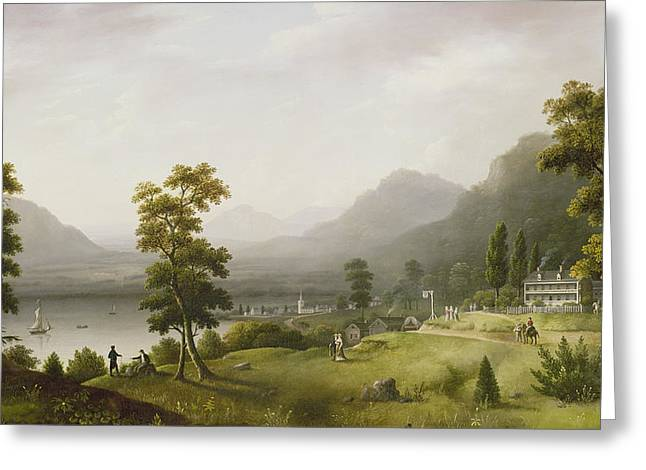 Colonial Architecture Greeting Cards - Carters Tavern at the Head of Lake George Greeting Card by Francis Guy