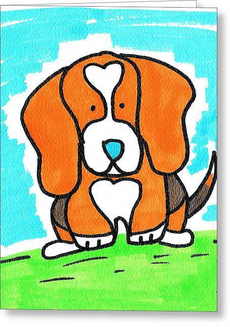 Doggy Drawings Greeting Cards - Cartoon Beagle Greeting Card by Jera Sky