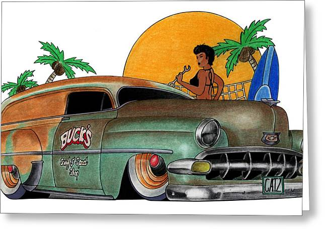 Car Pastels Greeting Cards - Cartoon Chevy Greeting Card by Lyle Brown