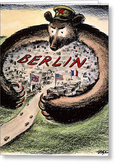 Political Acts Greeting Cards - Cartoon: Cold War Berlin Greeting Card by Granger