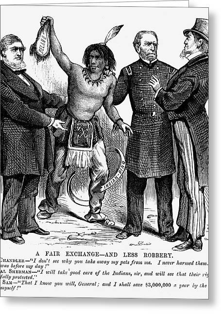 1876 Greeting Cards - Cartoon: Native Americans, 1876 Greeting Card by Granger