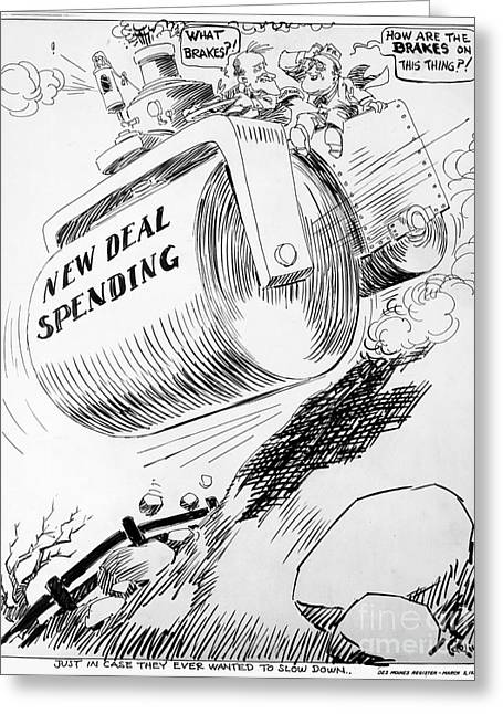 Carlisle Greeting Cards - Cartoon: New Deal, 1936 Greeting Card by Granger