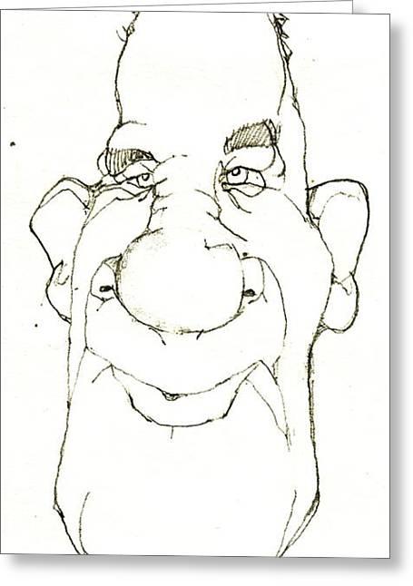 Headshot Drawings Greeting Cards - Cartoon No 156 Greeting Card by Edward Ruth