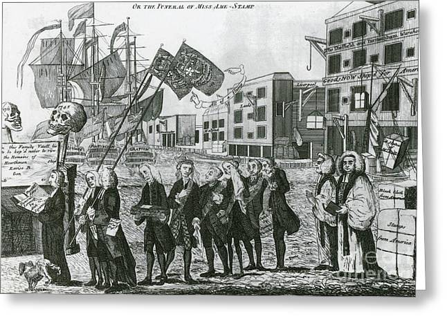 Repeal Greeting Cards - Cartoon, Repeal Of The Stamp Act Greeting Card by Photo Researchers