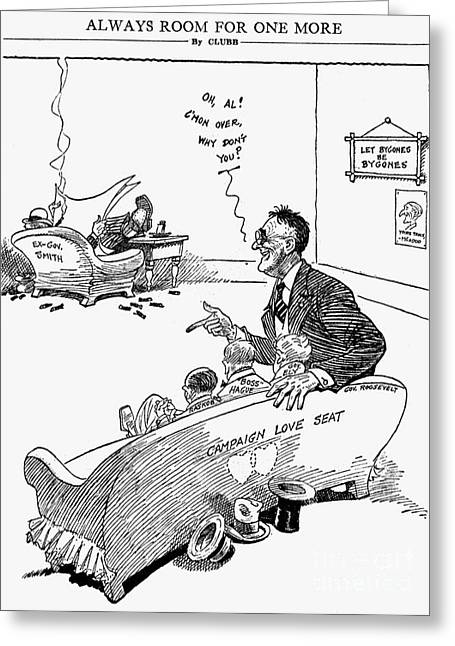 Franklin Roosevelt Greeting Cards - Cartoon: Roosevelt, 1932 Greeting Card by Granger