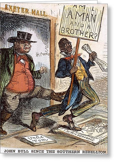 Abolition Greeting Cards - Cartoon: Slavery, 1861 Greeting Card by Granger
