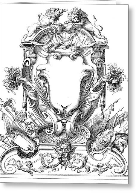 18th Century Greeting Cards - Cartouches, 18th Century Greeting Card by Granger