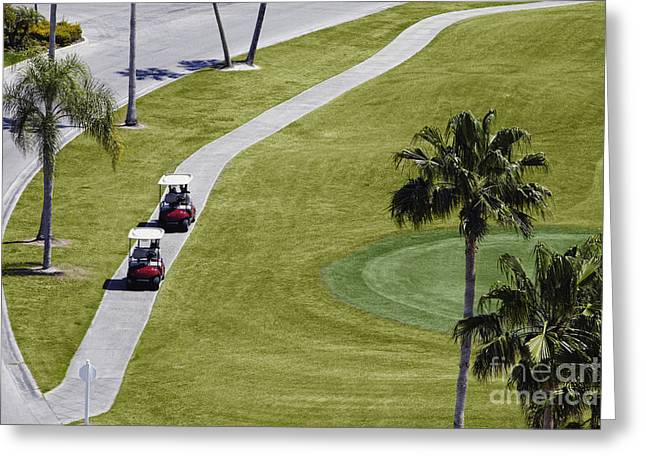 Cart Driving Greeting Cards - Carts on a Golf Course Greeting Card by Skip Nall