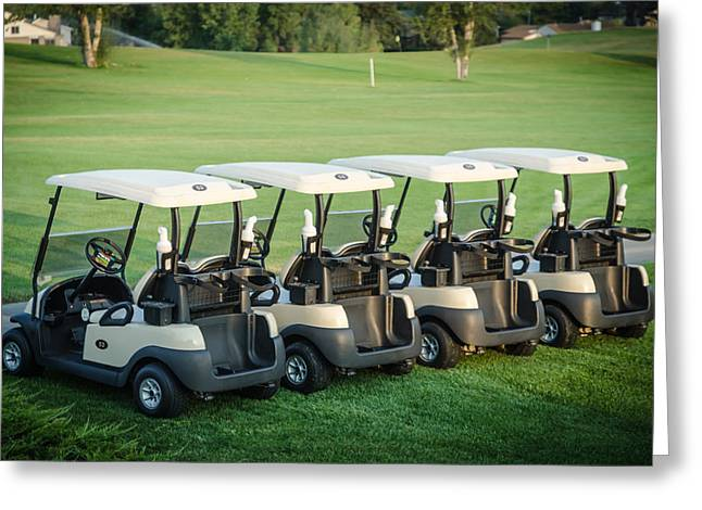 Golf Tournaments Greeting Cards - Carts Ready to hit the Greens Greeting Card by Noah Katz