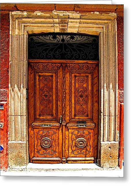 San Miguel De Allende Greeting Cards - Carved Doors Greeting Card by Olden Mexico