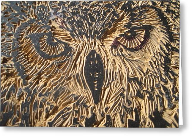 Carved Eagle Owl Greeting Card by Julia Forsyth