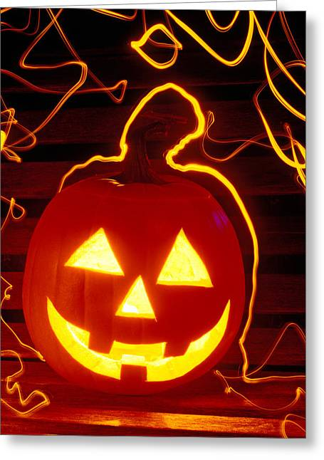 Humour Greeting Cards - Carved pumpkin smiling Greeting Card by Garry Gay