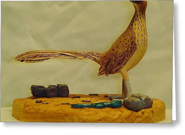 Woodcarving Sculptures Greeting Cards - Carved Roadrunner II Greeting Card by Russell Ellingsworth
