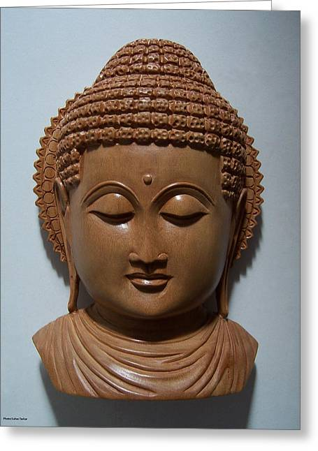 Buddha Sculptures Greeting Cards - Carved sandalwood buddha Greeting Card by Suhas Tavkar