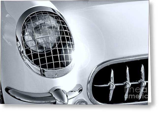 Matte Print Greeting Cards - Carvette Headlight Greeting Card by M K  Miller