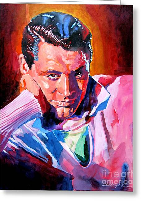Famous People Portraits Greeting Cards - Cary Grant - Debonair Greeting Card by David Lloyd Glover
