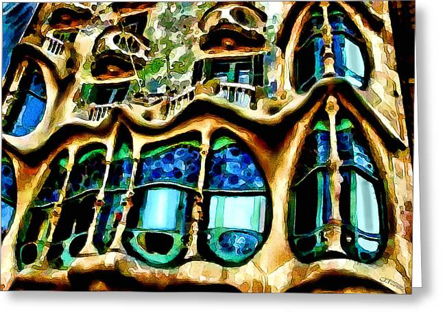 Party Invite Paintings Greeting Cards - Casa Batllo by Gaudi Greeting Card by Jann Paxton