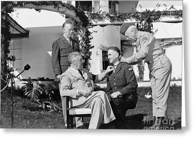 Franklin Roosevelt Greeting Cards - Casablanca Conference, 1943 Greeting Card by Granger