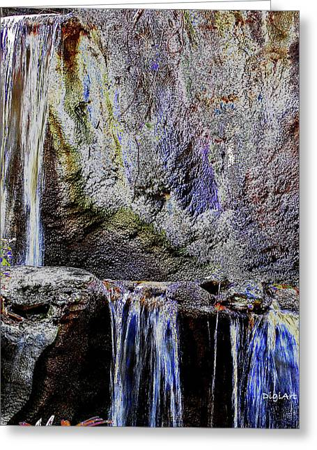 Ledge Greeting Cards - Cascading Water Solarized Greeting Card by DigiArt Diaries by Vicky B Fuller