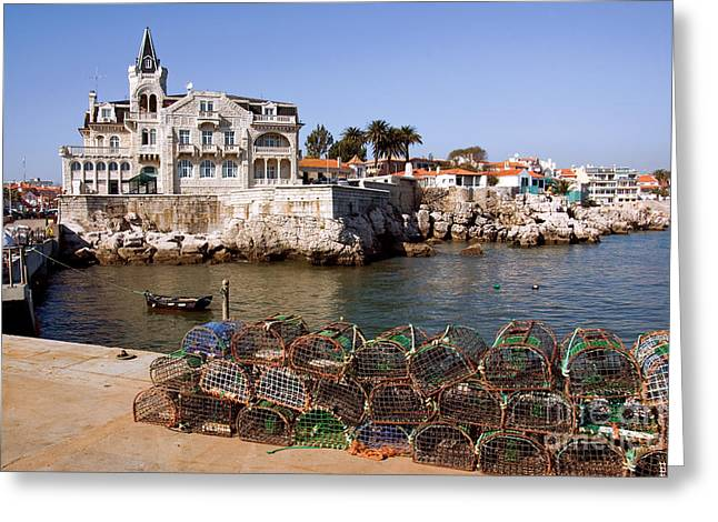 Pot Boat Greeting Cards - Cascais Bay Greeting Card by Carlos Caetano