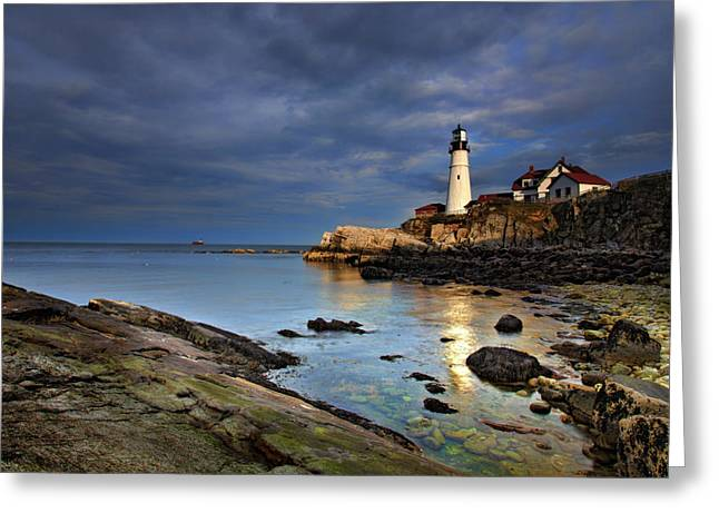 Portland Lighthouse Greeting Cards - Casco Reflections Greeting Card by Rick Berk