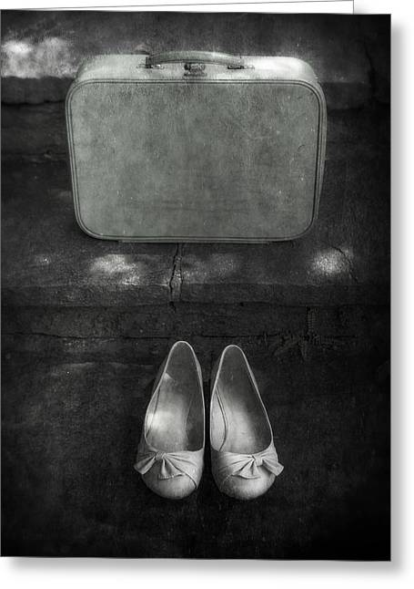 Staircase Greeting Cards - Case And Shoes Greeting Card by Joana Kruse