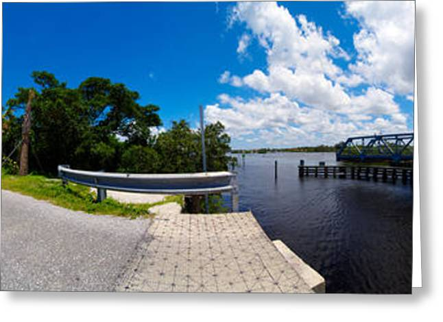 Casey Greeting Cards - Casey Key Swing Bridge Open For Boats Greeting Card by Rolf Bertram