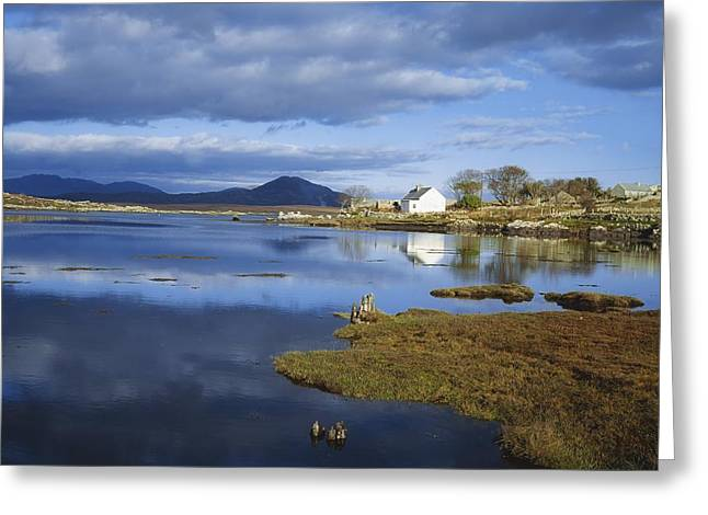 Ocean. Reflection Greeting Cards - Cashel Bay And Cashel Mountain Greeting Card by The Irish Image Collection