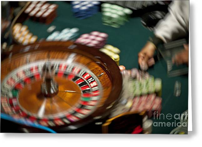 High Stakes Greeting Cards - Casino Roulette Greeting Card by John Greim