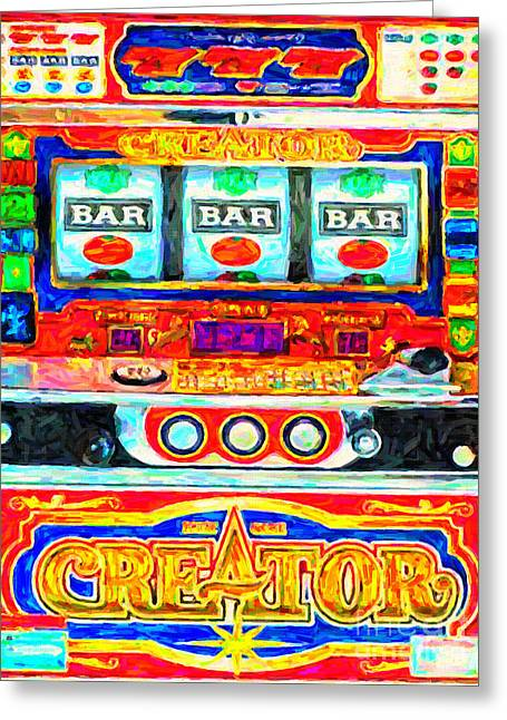 Recently Sold -  - Whimsical. Greeting Cards - Casino Slot Machine . One Arm Bandit . Triple Bar Bonus Jack Pot Greeting Card by Wingsdomain Art and Photography