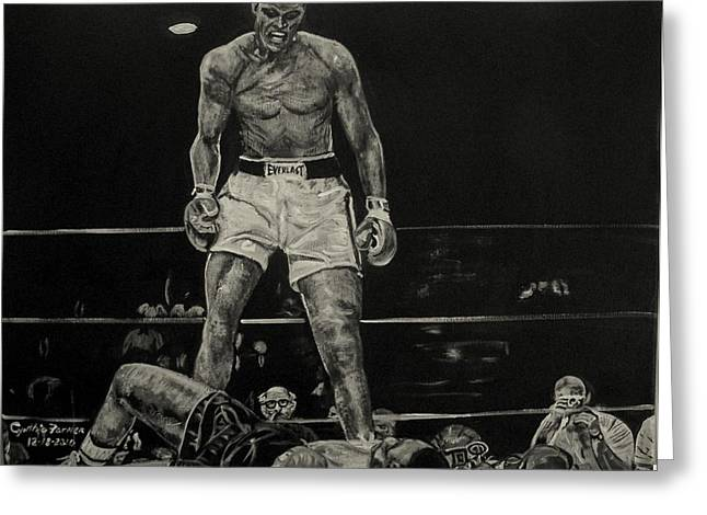 Mohammed Ali Greeting Cards - Cassius Clay and Sonny Liston Greeting Card by Cynthia Farmer