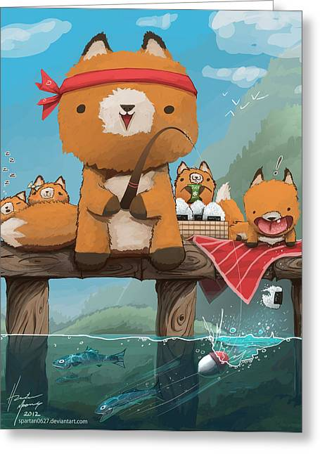 Baby Room Greeting Cards - Cast Away Your Problems Go Fishing Greeting Card by Hunter Mooney