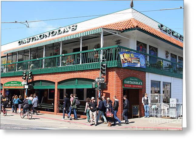 Pier 39 Greeting Cards - Castagnolas Restaurant . Fishermans Wharf . San Francisco California . 7D14206 Greeting Card by Wingsdomain Art and Photography