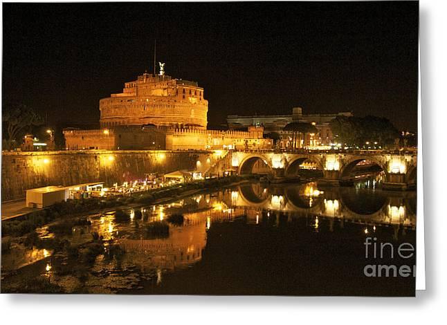 Angelo Greeting Cards - Castel San Angelo at night. Rome Greeting Card by Bernard Jaubert