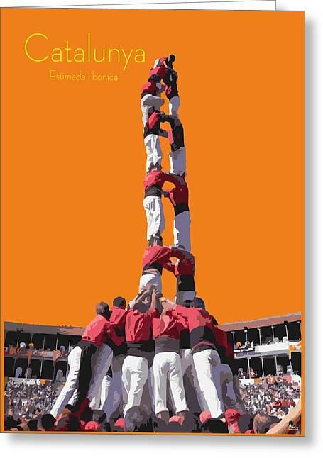 Catalunya Greeting Cards - Castellers de Catalunya Greeting Card by Joaquin Abella