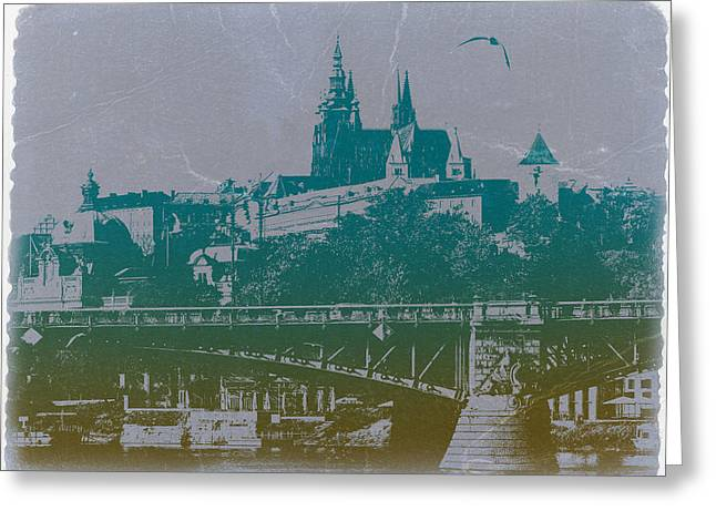 Old Digital Greeting Cards - Castillo De Praga Greeting Card by Naxart Studio