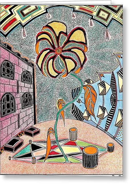 Imagination Pastels Greeting Cards - Castl Yard Greeting Card by Yury Bashkin