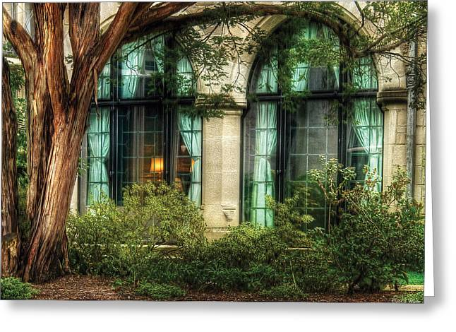 Looking In Greeting Cards - Castle - The Castle Windows Greeting Card by Mike Savad