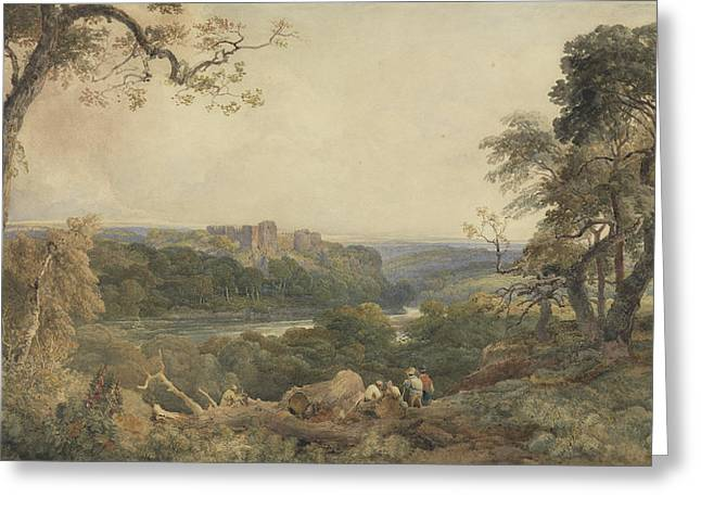 Wood Castle Greeting Cards - Castle above a River - Woodcutters in the Foreground Greeting Card by Peter de Wint