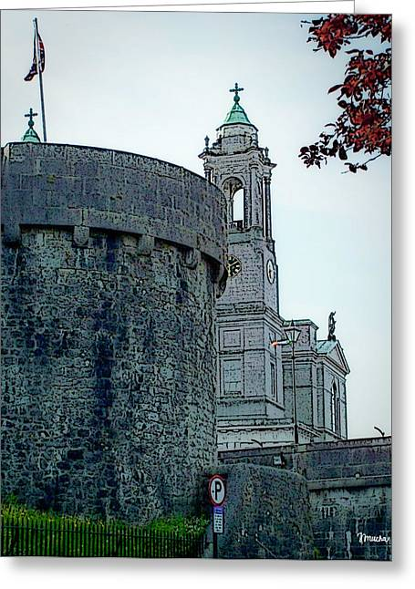 Old Town Digital Art Greeting Cards - Castle and Church Athlone Ireland Greeting Card by Teresa Mucha