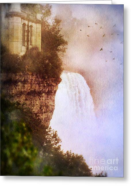 Castle At The Edge Of The Falls Greeting Card by Jill Battaglia