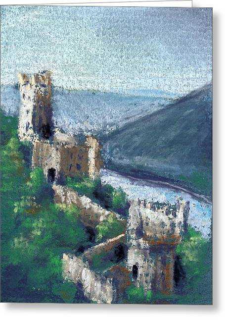 Medieval Pastels Greeting Cards - Castle by the River Greeting Card by Sherri Strikwerda